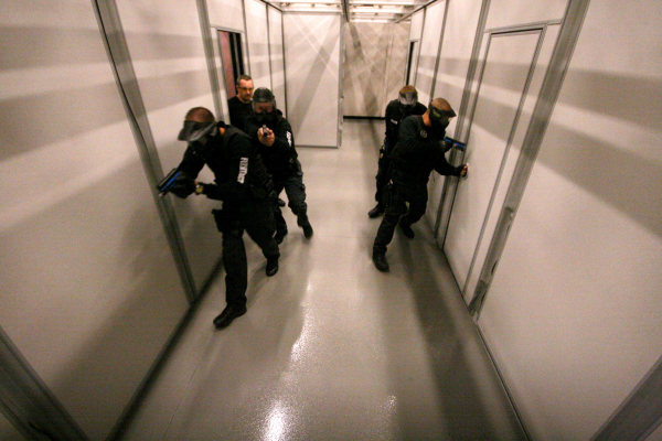 Image of police training using Hufcor's FlextTact movable wall systems