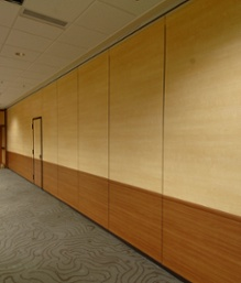 Architectural fusions laminate example of wood on operable walls