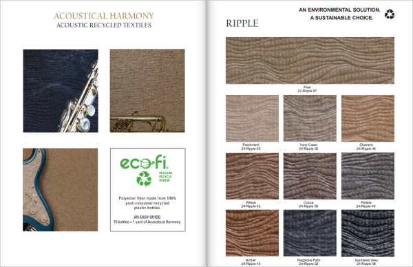 Acoustical harmony image of designed sculpted carpets and textiles made from recycled plastic bottles