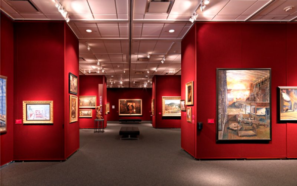 Movable partition and movable gallery walls at the Men at Work Museums at MSOE University